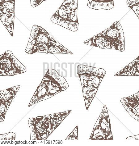 Seamless Pattern With Different Italian Pizza Slices On White Background. Hand-drawn Endless Texture