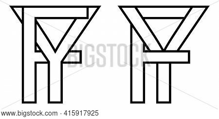 Logo Sign Fy, Yf Icon Sign Interlaced Letters Y, F Vector Logo Yf, Fy First Capital Letters Pattern