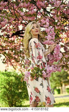 Spring Blossom. Happy Spring Day. Spring Symbol. Girl Enjoy Sakura In Garden. Cherry Tree. Good Vibe
