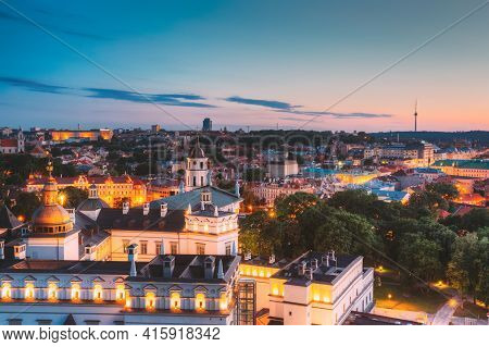 Vilnius, Lithuania, Eastern Europe. Aerial View Of Historic Center Cityscape In Blue Hour After Suns