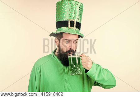 Cheers Concept. Colored Green Beer. Green Beer Part Of Celebration. Irish Pub. Alcohol Consumption I
