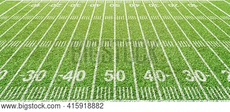 American Football Field Yard Lines. View From With Sidelines