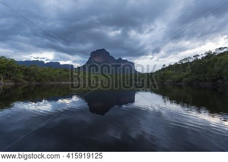 Sunset On The Auyantepui Mountain In The Canaima National Park
