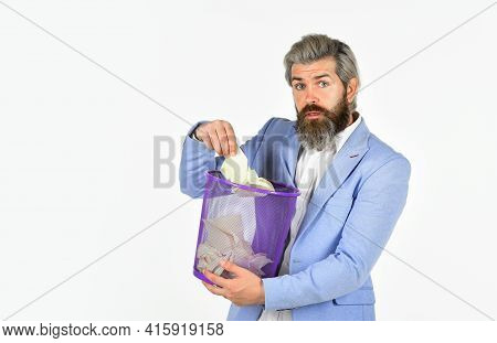 Office Worker Digging In Garbage Bin. Businessman Hold Trashcan. Man In Office Look For Lost Note In