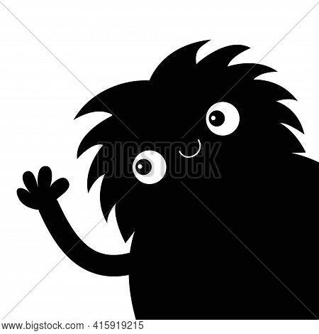 Monster Silhouette In The Corner Waving Hand In The Corner. Black Funny Cute Cartoon Kawaii Funny Ba