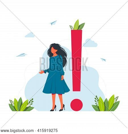 Vector Illustration Concept Of Exclamation Marks. Businesswoman Around Of Huge Exclamation Marks. Bu