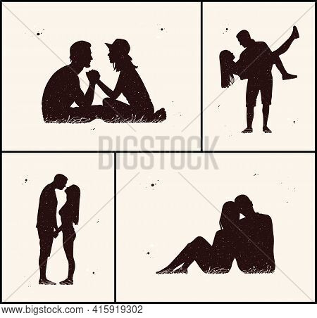 Couple Of Lovers. Kissing People Abstract Silhouette. Night Starry Sky