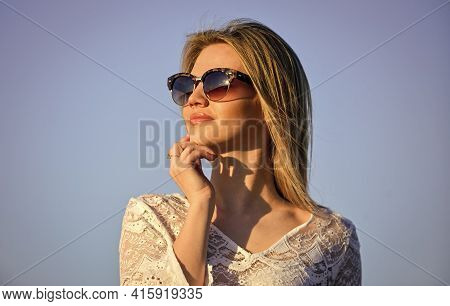 Sunny Day. Girl Blue Sky Background. Female Health. Emotional Girl. Happy. Carefree Girl. Pretty Wom