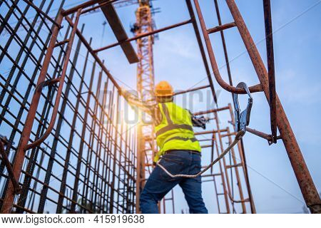 Working At Height Equipment Constructive. Fall Arrestor Device For Worker With Hooks For Safety Body