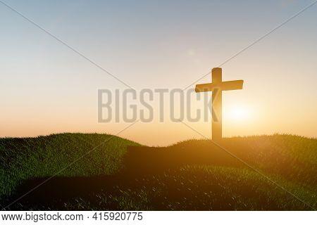 Crucifixion Of Jesus Christ, Catholic Cross At Sunset Background. Resurrection Concept