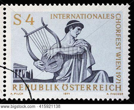 ZAGREB, CROATIA - SEPTEMBER 09, 2014: Stamp printed in the Austria shows Singer with Lyre, International Choir Festival, Vienna, circa 1971