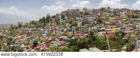 Caracas, Venezuela, April 20: Small Wooden Colored Houses In The Poor Neighborhood In Caracas. It Co
