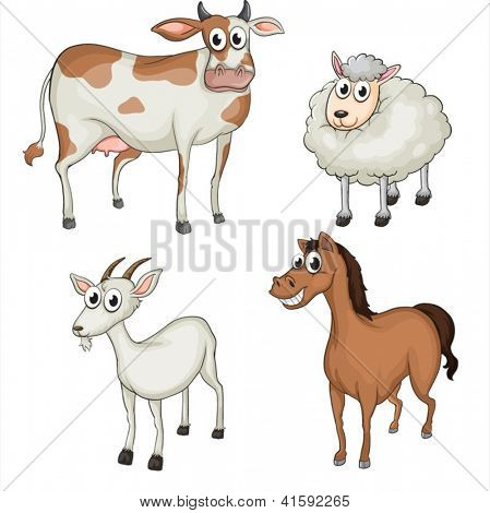 Illustration of farm animals on a white background
