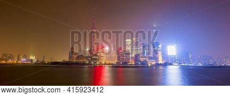 Shanghai, China, April 7: Nightview Of Shanghai\'s New Financial District By The Huangpu River At Ni
