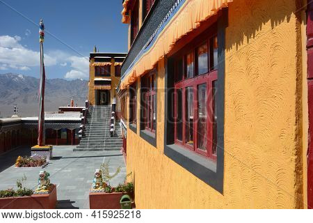 Diskit Monastery Also Known As Deskit Gompa, Nubra Valley, Jammu And Kashmir, India