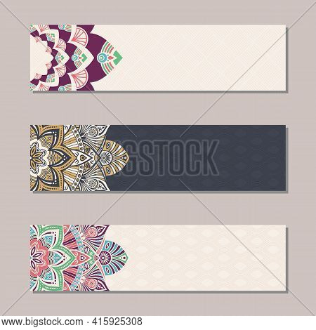 Vector Set 3 Banners With Traditional Indian Ornaments, Lace Orient Mandala. Decorative Elements.  E