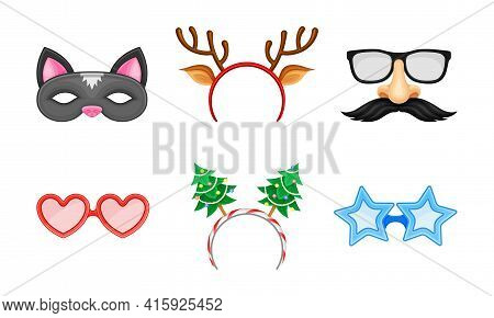 Carnival Or Party Headband And Masks With Deer Antler And Moustache Vector Set