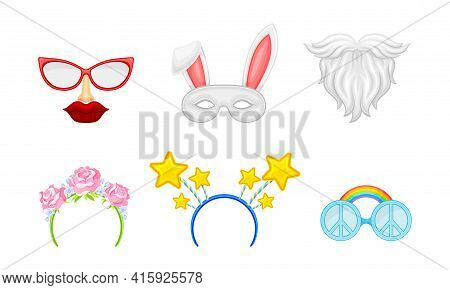 Carnival Or Party Headband And Masks With Beard And Hare Vector Set