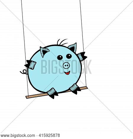 Blue Vector Piggy Fat Boy Swinging On A Swing On A White Background
