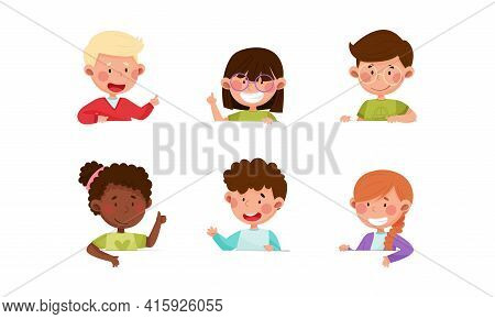 Cute Boy And Girl Characters Sitting At Table Or School Desk And Speaking Vector Illustrations Set