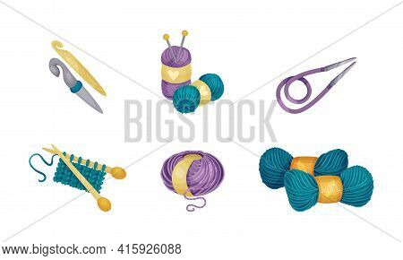 Crewel Or Wool Balls And Knitting Needle Or Knitting Pin As Needlework Vector Set