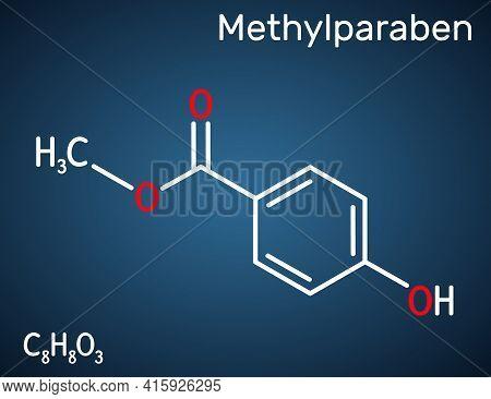 Methylparaben, Methyl Paraben, Methyl 4-hydroxybenzoate Molecule. It Is Paraben, Antimicrobial Prese