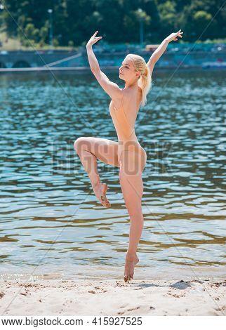 Young Woman Doing Aqua Aerobics In Water, Exercises, Health Life Concept