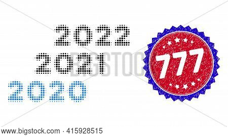 Dot Halftone 2020 - 2022 Years Icon, And 777 Stamp. 777 Stamp Seal Uses Bicolor Rosette Template, Re