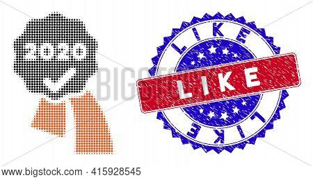 Pixelated Halftone 2020 Approve Award Icon, And Like Watermark. Like Seal Uses Bicolor Rosette Form,