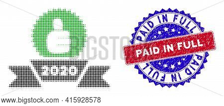 Pixelated Halftone 2020 Award Ribbon Icon, And Paid In Full Textured Stamp Print. Paid In Full Stamp