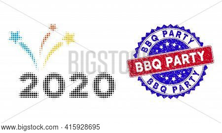 Pixel Halftone 2020 Fireworks Icon, And Bbq Party Grunge Stamp Print. Bbq Party Stamp Seal Uses Bico