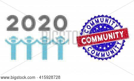 Dot Halftone 2020 Gentlemen Dance Icon, And Community Rubber Stamp. Community Stamp Uses Bicolor Ros