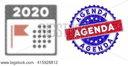 Pixelated Halftone 2020 Holiday Calendar Icon, And Agenda Rubber Stamp Seal. Agenda Stamp Seal Uses