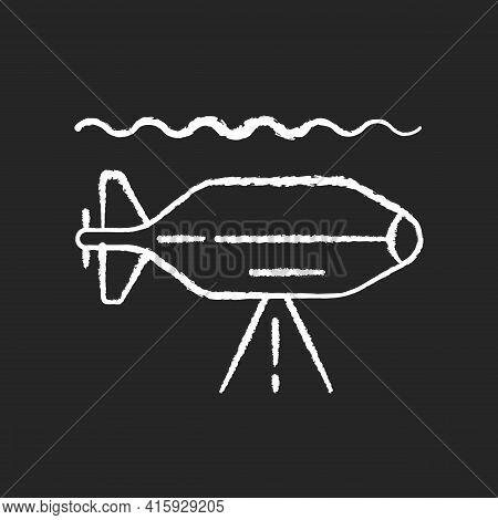 Auv Chalk White Icon On Black Background. Autonomous Underwater Vehicle Is Robot That Travels Underw