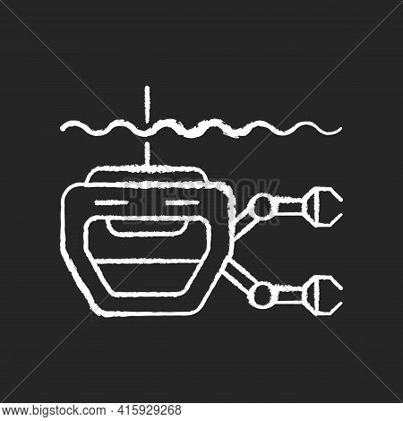 Rov Chalk White Icon On Black Background. Remotely Operated Underwater Vehicle Is Tethered Underwate