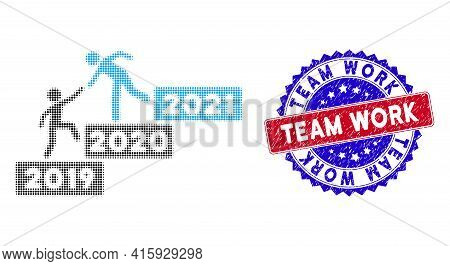 Pixel Halftone 2021 Buisiness Training Stairs Icon, And Team Work Rubber Seal. Team Work Watermark U