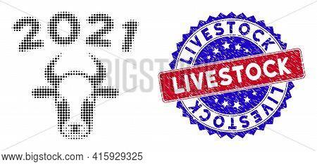 Dot Halftone 2021 Bull Icon, And Livestock Rough Watermark. Livestock Watermark Uses Bicolor Rosette