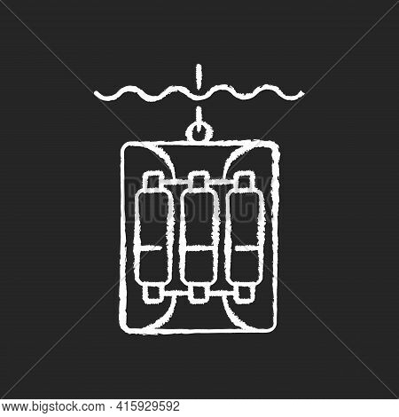 Water Sampler Chalk White Icon On Black Background. Water Sampling Devices. Bucket Dropped Over Side