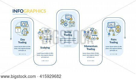 Trading Strategies Vector Infographic Template. Scalping, Swing, Pairs Trade Presentation Design Ele