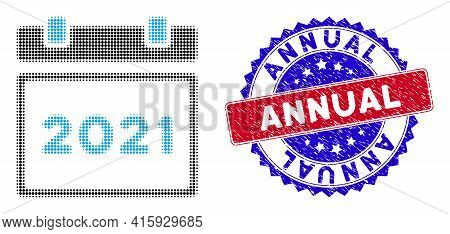 Pixel Halftone 2021 Calendar Icon, And Annual Scratched Stamp. Annual Stamp Seal Uses Bicolor Rosett