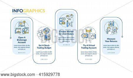 Trading Steps Vector Infographic Template. Budget, Virtual Trade, Returns Presentation Design Elemen