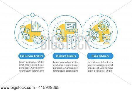 Stockbroker Types Vector Infographic Template. Discount Brokers, Robo-advisors Presentation Design E