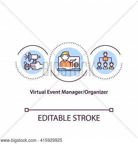 Virtual Event Manager Concept Icon. Ve Organizer Idea Thin Line Illustration. Engaging Digital Exper
