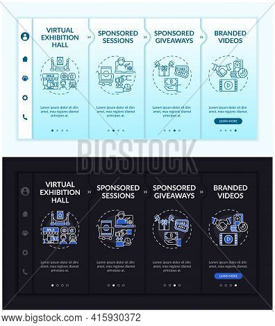Sponsored Online Gatherings Onboarding Vector Template. Responsive Mobile Website With Icons. Web Pa