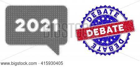 Dotted Halftone 2021 Message Icon, And Debate Textured Watermark. Debate Watermark Uses Bicolor Rose