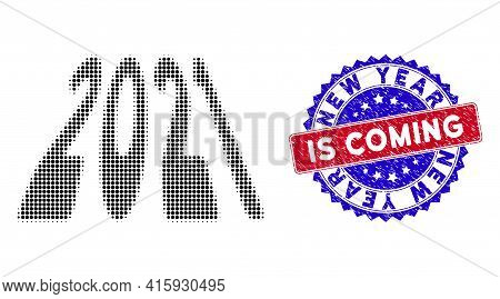 Dotted Halftone 2021 Perspective Digits Icon, And New Year Is Coming Grunge Rubber Seal. New Year Is