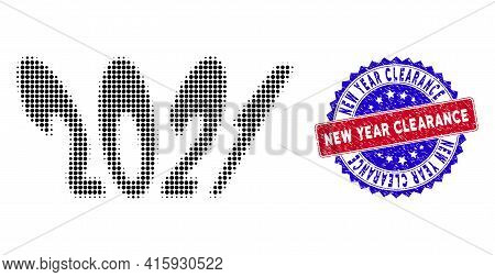 Dotted Halftone 2021 Perspective Text Icon, And New Year Clearance Scratched Stamp Seal. New Year Cl