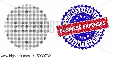 Dot Halftone 2021 Silver Coin Icon, And Business Expenses Grunge Stamp Seal. Business Expenses Seal