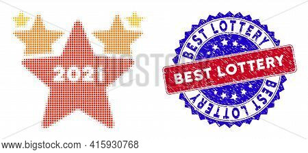 Dotted Halftone 2021 Star Hit Parade Icon, And Best Lottery Rough Rubber Seal. Best Lottery Stamp Se