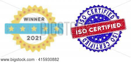 Dot Halftone 2021 Winner Stamp Icon, And Iso Certified Unclean Stamp Seal. Iso Certified Stamp Seal